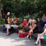 Among the New Yorkers not at the parade: Musicians practice in Washington Square Park