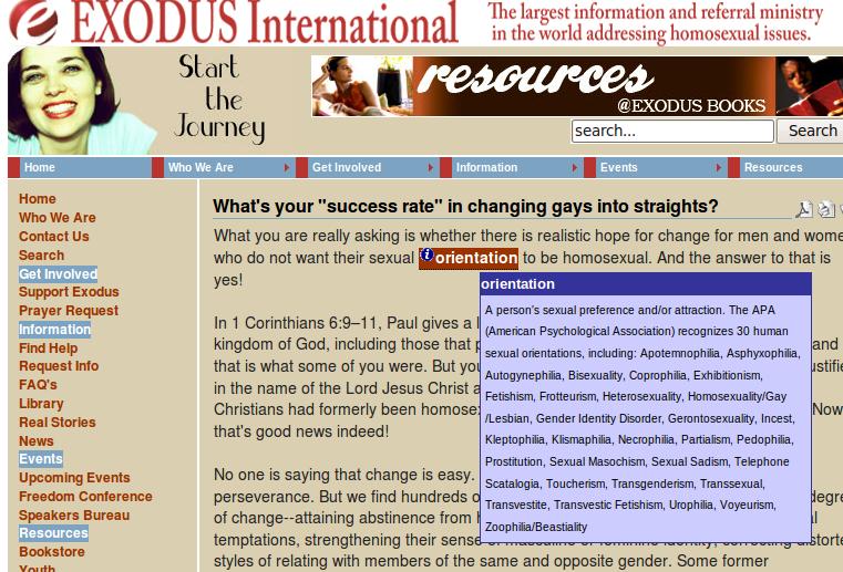Exodus ministries homosexuality