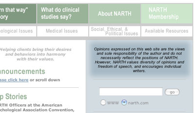 narth_disclaimer NARTH Disavows Its Own Web Site