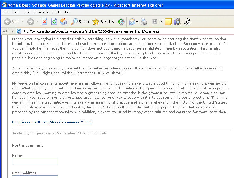 narth_slavery NARTH Responds to Criticism of Schoenewolf Article